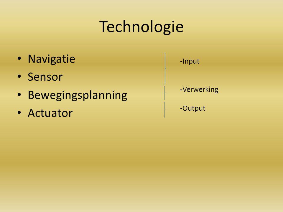 Technologie Navigatie Sensor Bewegingsplanning Actuator -Input -Verwerking -Output