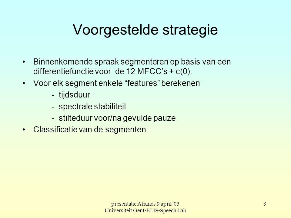 presentatie Atranos 9 april '03 Universiteit Gent-ELIS-Speech Lab 2 Soorten haperingen. spontane spraak bevat verschillende haperingen. gevulde pauzes