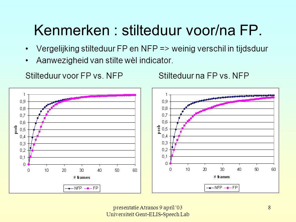 presentatie Atranos 9 april 03 Universiteit Gent-ELIS-Speech Lab 7 Kenmerken : stilteduur voor/na FP Systeem van stilteherkenning : drempelenergie bijhouden.