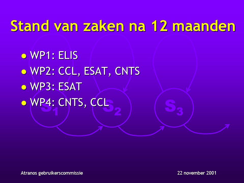 S1S1 S2S2 S3S3 22 november 2001Atranos gebruikerscommissie Stand van zaken na 12 maanden l WP1: ELIS l WP2: CCL, ESAT, CNTS l WP3: ESAT l WP4: CNTS, C