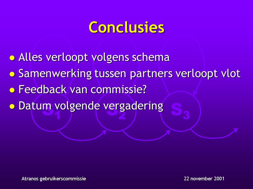 S1S1 S2S2 S3S3 22 november 2001Atranos gebruikerscommissie Conclusies l Alles verloopt volgens schema l Samenwerking tussen partners verloopt vlot l Feedback van commissie.