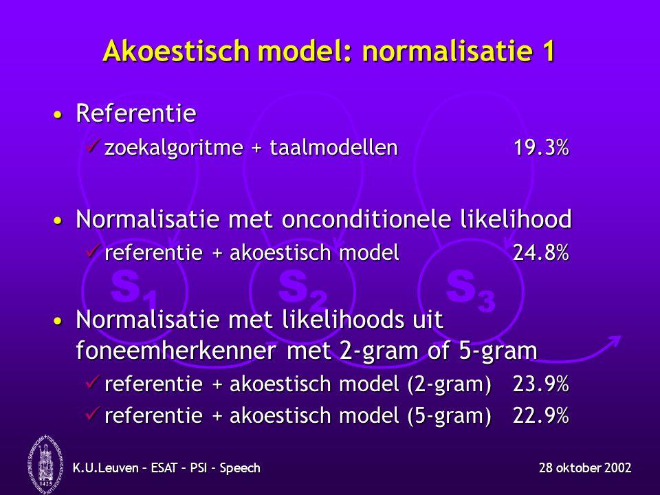 S1S1 S2S2 S3S3 28 oktober 2002K.U.Leuven – ESAT – PSI - Speech Akoestisch model: normalisatie 1 ReferentieReferentie zoekalgoritme + taalmodellen19.3% zoekalgoritme + taalmodellen19.3% Normalisatie met onconditionele likelihoodNormalisatie met onconditionele likelihood referentie + akoestisch model24.8% referentie + akoestisch model24.8% Normalisatie met likelihoods uit foneemherkenner met 2-gram of 5-gramNormalisatie met likelihoods uit foneemherkenner met 2-gram of 5-gram referentie + akoestisch model (2-gram)23.9% referentie + akoestisch model (2-gram)23.9% referentie + akoestisch model (5-gram)22.9% referentie + akoestisch model (5-gram)22.9%