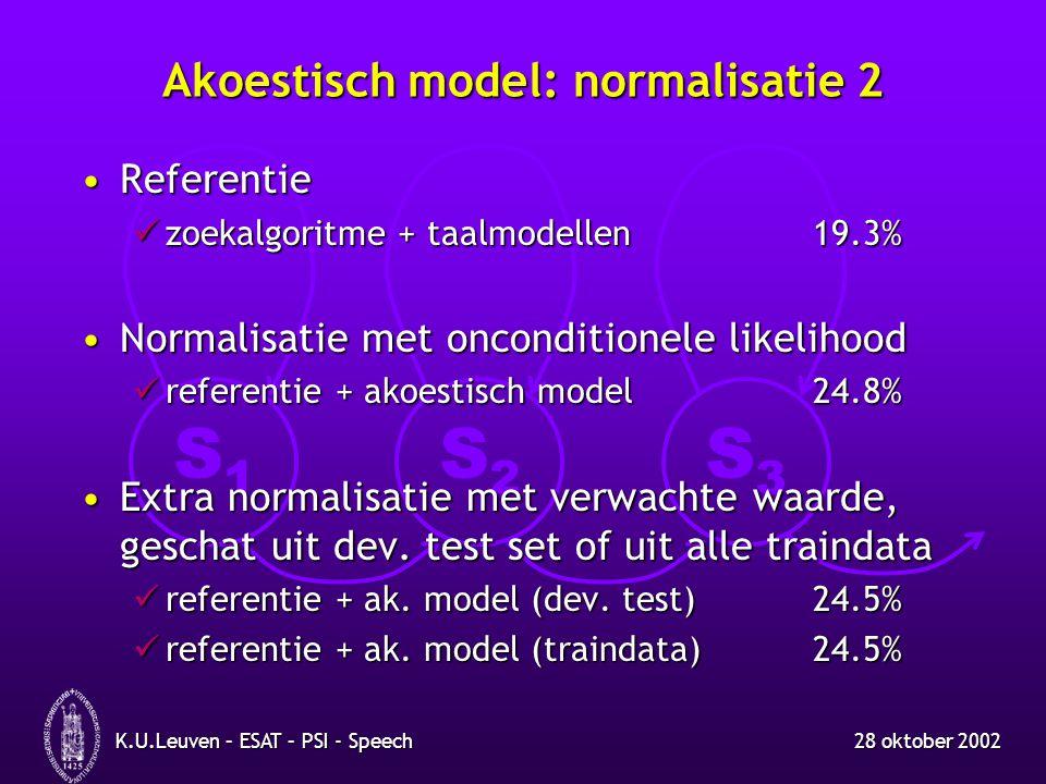 S1S1 S2S2 S3S3 28 oktober 2002K.U.Leuven – ESAT – PSI - Speech Akoestisch model: normalisatie 2 ReferentieReferentie zoekalgoritme + taalmodellen19.3%