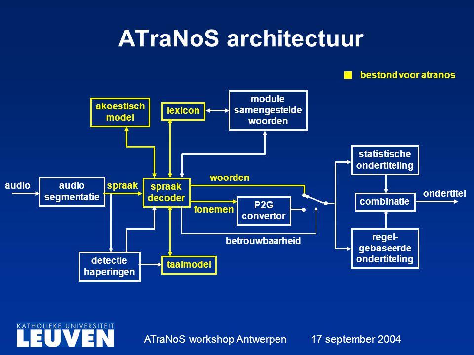 ATraNoS workshop Antwerpen 17 september 2004 ATraNoS architectuur akoestisch model lexicon module samengestelde woorden audio segmentatie detectie haperingen spraak decoder taalmodel P2G convertor statistische ondertiteling regel- gebaseerde ondertiteling combinatie audiospraak woorden fonemen ondertitel betrouwbaarheid bestond voor atranos