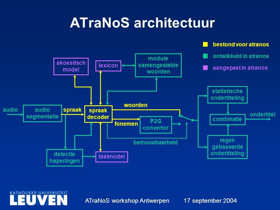 ATraNoS workshop Antwerpen 17 september 2004 ATraNoS architectuur akoestisch model lexicon module samengestelde woorden audio segmentatie detectie haperingen spraak decoder taalmodel P2G convertor statistische ondertiteling regel- gebaseerde ondertiteling combinatie audiospraak woorden fonemen ondertitel betrouwbaarheid bestond voor atranos ontwikkeld in atranos aangepast in atranos
