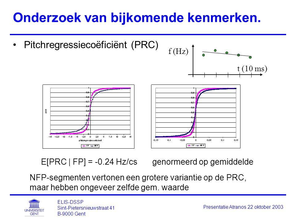 ELIS-DSSP Sint-Pietersnieuwstraat 41 B-9000 Gent Presentatie Atranos 22 oktober 2003 Onderzoek van bijkomende kenmerken. Pitchregressiecoëficiënt (PRC