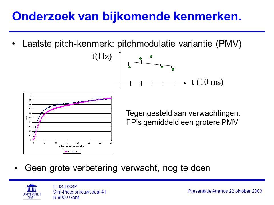 ELIS-DSSP Sint-Pietersnieuwstraat 41 B-9000 Gent Presentatie Atranos 22 oktober 2003 Onderzoek van bijkomende kenmerken. Laatste pitch-kenmerk: pitchm
