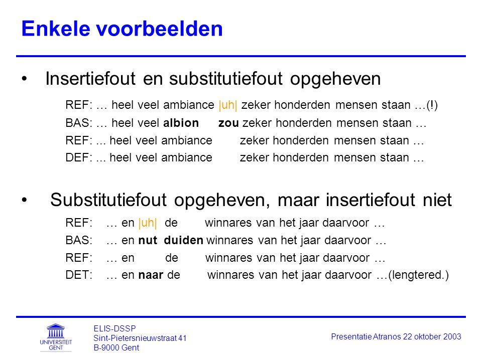 ELIS-DSSP Sint-Pietersnieuwstraat 41 B-9000 Gent Presentatie Atranos 22 oktober 2003 Enkele voorbeelden Insertiefout en substitutiefout opgeheven REF: … heel veel ambiance |uh| zeker honderden mensen staan …(!) BAS: … heel veel albion zou zeker honderden mensen staan … REF:...