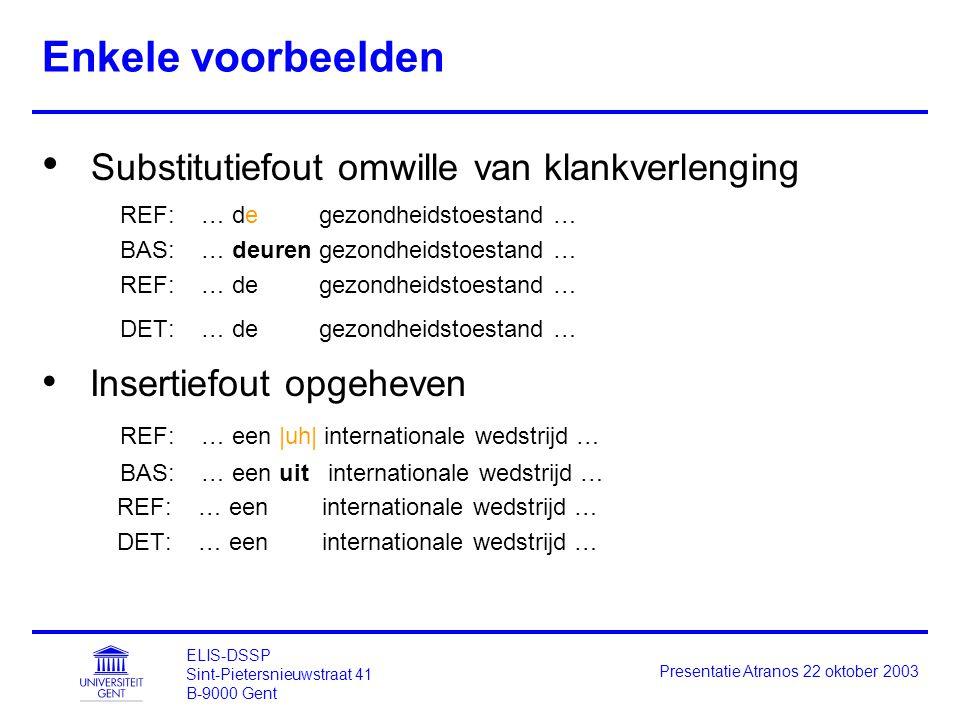 ELIS-DSSP Sint-Pietersnieuwstraat 41 B-9000 Gent Presentatie Atranos 22 oktober 2003 Enkele voorbeelden Substitutiefout omwille van klankverlenging RE