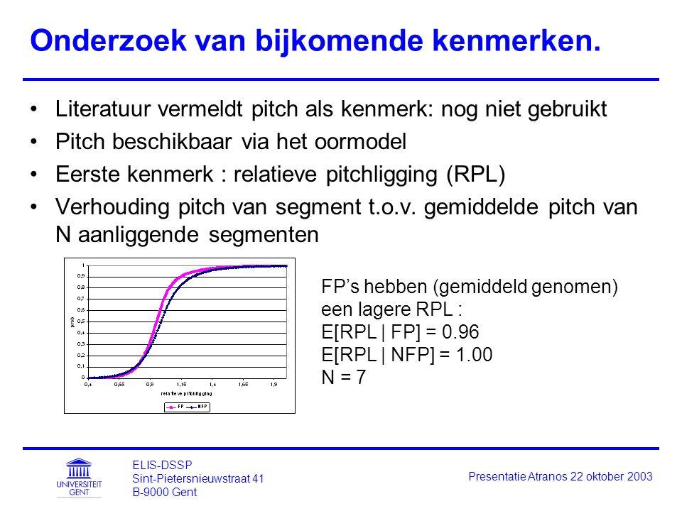 ELIS-DSSP Sint-Pietersnieuwstraat 41 B-9000 Gent Presentatie Atranos 22 oktober 2003 Onderzoek van bijkomende kenmerken. Literatuur vermeldt pitch als