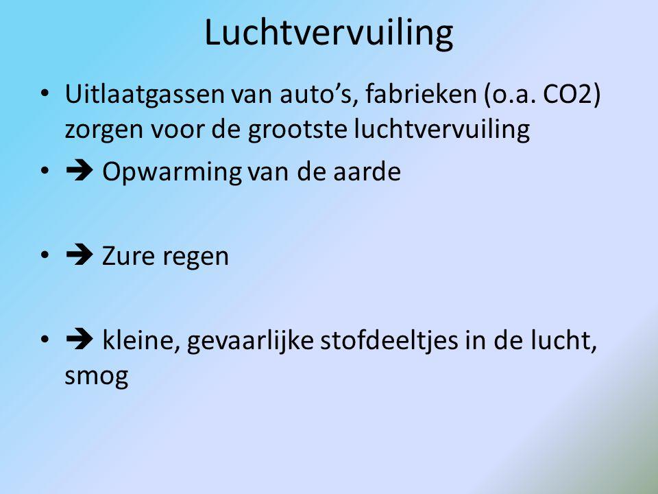 Verschillende soorten vervuiling Luchtvervuiling: uitlaatgassen, co 2, zure regen, Waterverontreiniging: olie, giftige stoffen Bodemvervuiling: fabrie