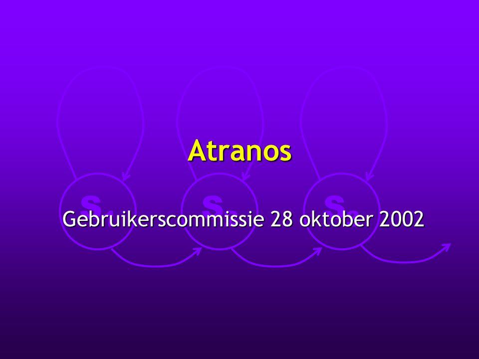 S1S1 S2S2 S3S3 28 oktober 2002Atranos gebruikerscommissie Doelstellingen l Automatische transcriptie van spontane spraak l Conversie van deze transcripties volgens noden van gebruikers, bv.