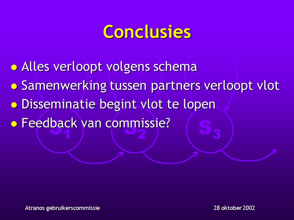 S1S1 S2S2 S3S3 28 oktober 2002Atranos gebruikerscommissie Conclusies l Alles verloopt volgens schema l Samenwerking tussen partners verloopt vlot l Di