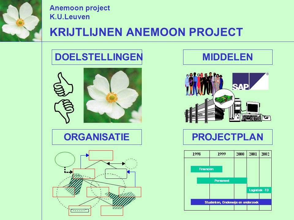 Anemoon project K.U.Leuven KRIJTLIJNEN ANEMOON PROJECT   DOELSTELLINGENMIDDELENORGANISATIEPROJECTPLAN