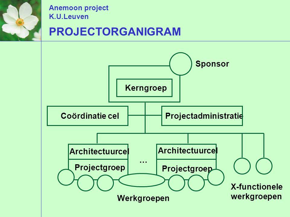 Anemoon project K.U.Leuven Stuurgroep Projectgroep Werkgroepen … Sponsor Architectuurcel Projectadministratie X-functionele werkgroepen PROJECTORGANIGRAM Coördinatie cel Kerngroep