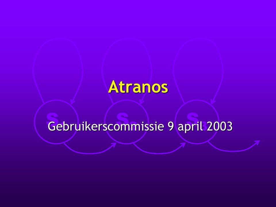 S1S1 S2S2 S3S3 Atranos Gebruikerscommissie 9 april 2003