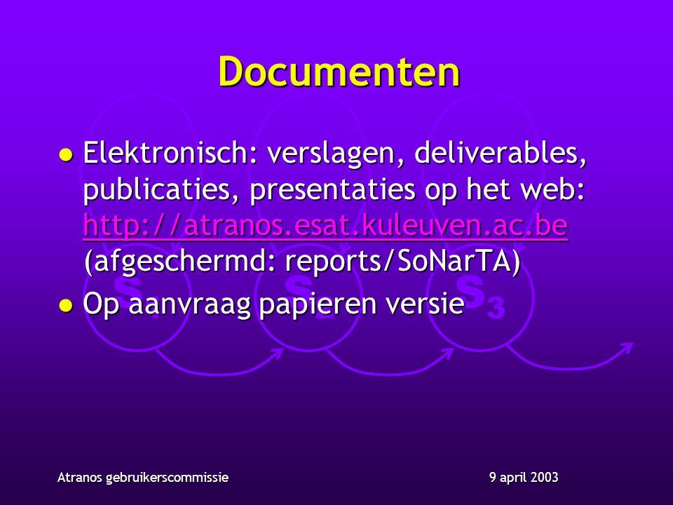 S1S1 S2S2 S3S3 9 april 2003Atranos gebruikerscommissie Documenten l Elektronisch: verslagen, deliverables, publicaties, presentaties op het web: http://atranos.esat.kuleuven.ac.be (afgeschermd: reports/SoNarTA) http://atranos.esat.kuleuven.ac.be l Op aanvraag papieren versie