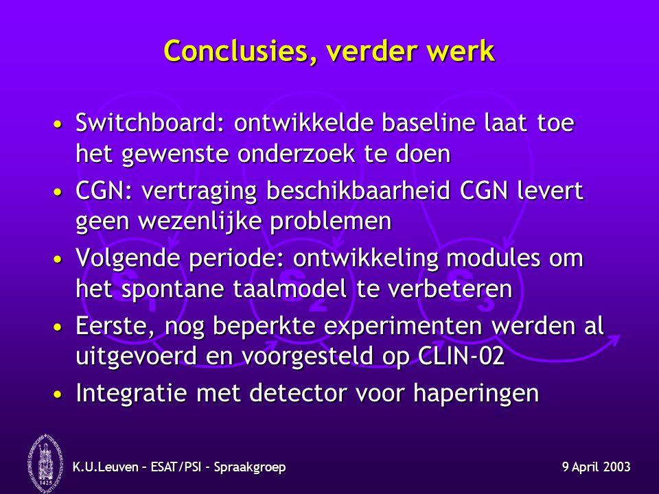 S1S1 S2S2 S3S3 9 April 2003K.U.Leuven – ESAT/PSI - Spraakgroep Conclusies, verder werk Switchboard: ontwikkelde baseline laat toe het gewenste onderzo