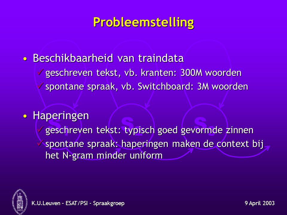 S1S1 S2S2 S3S3 9 April 2003K.U.Leuven – ESAT/PSI - Spraakgroep Baseline herkenners Voor het Engels: SwitchboardVoor het Engels: Switchboard telefoonspraak (8 kHz) telefoonspraak (8 kHz) benchmark: ter vergelijking benchmark: ter vergelijking baseline ontwikkeld in de voorbije periode baseline ontwikkeld in de voorbije periode Voor het Nederlands: CGNVoor het Nederlands: CGN face-to-face (16 kHz) face-to-face (16 kHz) gebruik in systeem voor ondertiteling gebruik in systeem voor ondertiteling vertraging beschikbaarheid data CGN vertraging beschikbaarheid data CGN voorlopig enkel herkenner voor voorgelezen spraak voorlopig enkel herkenner voor voorgelezen spraak