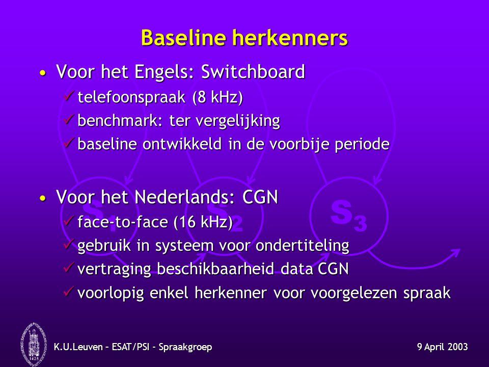 S1S1 S2S2 S3S3 9 April 2003K.U.Leuven – ESAT/PSI - Spraakgroep Baseline herkenners Voor het Engels: SwitchboardVoor het Engels: Switchboard telefoonsp