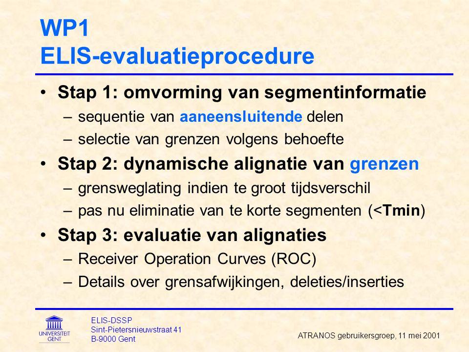 WP1 ELIS-evaluatieprocedure Stap 1: omvorming van segmentinformatie –sequentie van aaneensluitende delen –selectie van grenzen volgens behoefte Stap 2: dynamische alignatie van grenzen –grensweglating indien te groot tijdsverschil –pas nu eliminatie van te korte segmenten (<Tmin) Stap 3: evaluatie van alignaties –Receiver Operation Curves (ROC) –Details over grensafwijkingen, deleties/inserties ATRANOS gebruikersgroep, 11 mei 2001 ELIS-DSSP Sint-Pietersnieuwstraat 41 B-9000 Gent