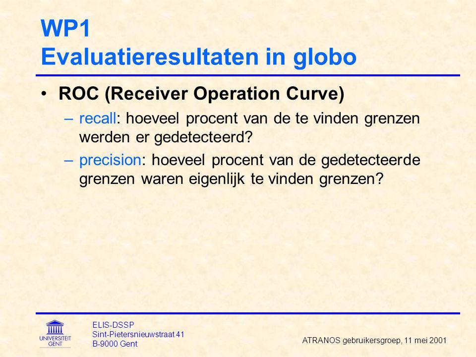 WP1 Evaluatieresultaten in globo ROC (Receiver Operation Curve) –recall: hoeveel procent van de te vinden grenzen werden er gedetecteerd? –precision: