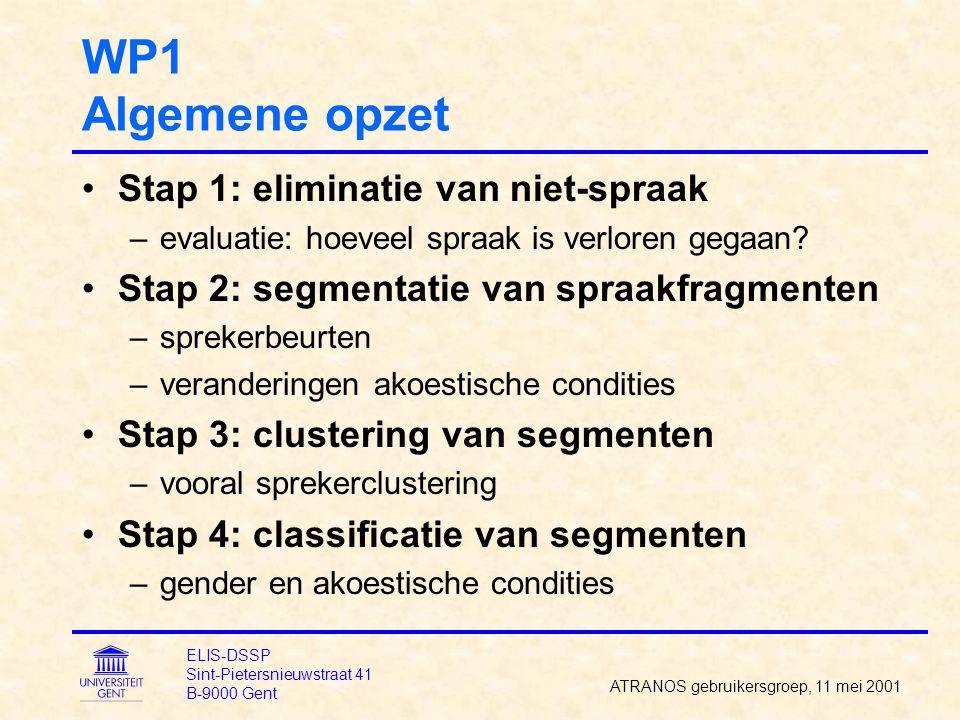 WP1 Stap 1: eliminatie van niet-spraak Trainen van GMMs –3 GMMs voor spraak (zuivere spraak, spraak in muziek (BN), spraak in andere ruis) –2 GMMs voor achtergrond (muziek (BN), andere) Combinatie van GMM-scores tot segmenten –HMMs in parallel plaatsen –inter-model kost invoeren –grensposities verfijnen Eliminatie van niet-spraak –enkel lange segmenten (>1 seconde) elimineren ATRANOS gebruikersgroep, 11 mei 2001 ELIS-DSSP Sint-Pietersnieuwstraat 41 B-9000 Gent
