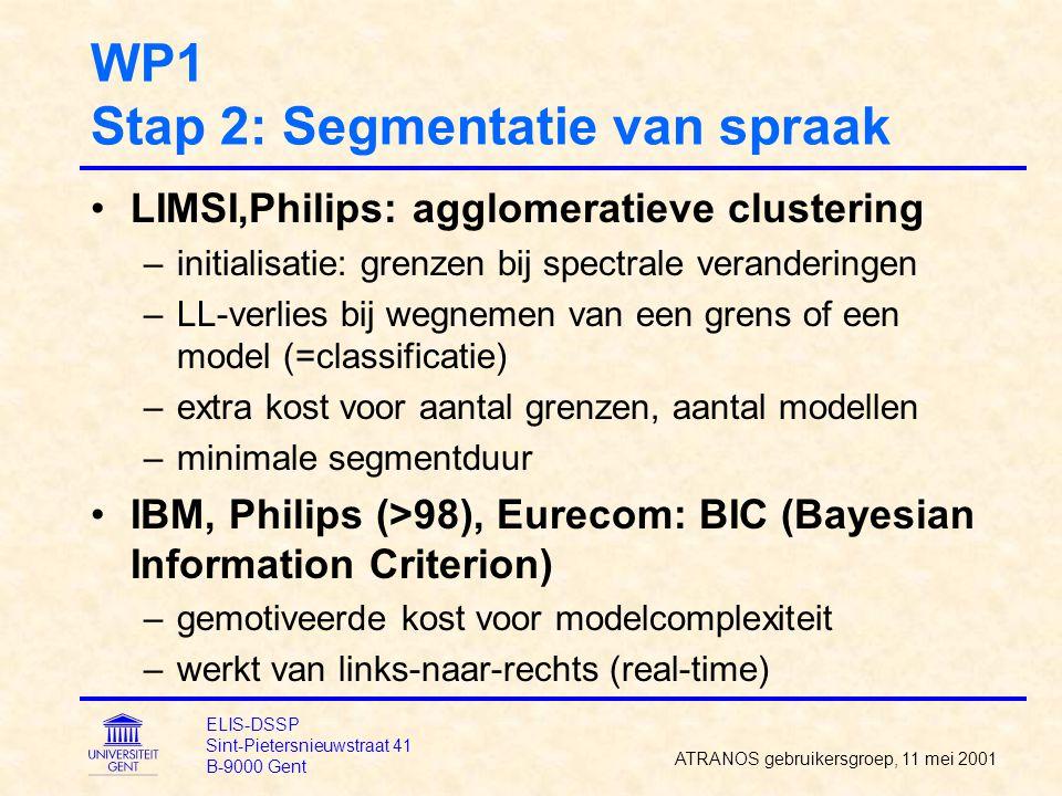 WP1 Stap 2: Segmentatie van spraak LIMSI,Philips: agglomeratieve clustering –initialisatie: grenzen bij spectrale veranderingen –LL-verlies bij wegnem