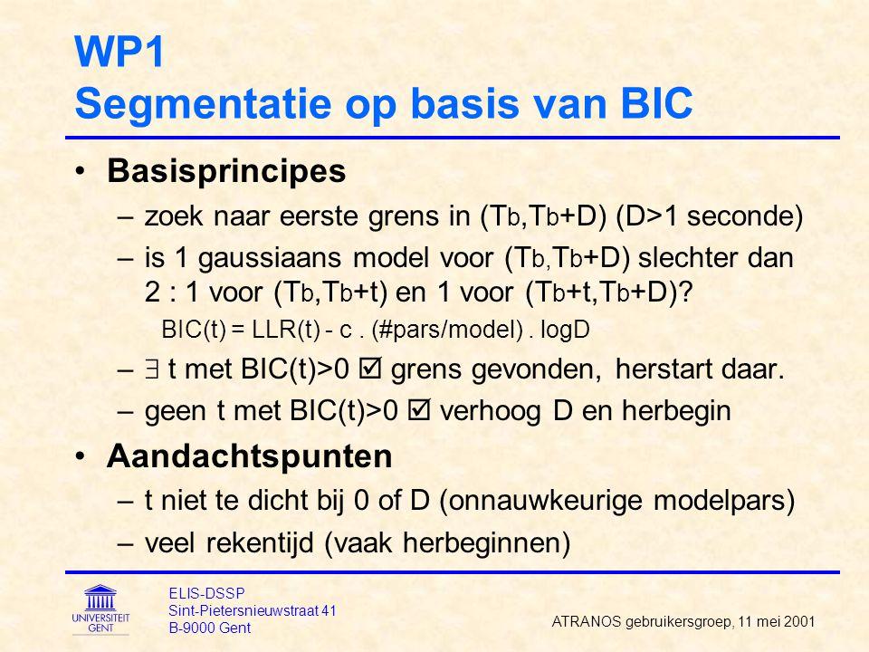 WP1 Segmentatie op basis van BIC Basisprincipes –zoek naar eerste grens in (T b,T b +D) (D>1 seconde) –is 1 gaussiaans model voor (T b, T b +D) slechter dan 2 : 1 voor (T b,T b +t) en 1 voor (T b +t,T b +D).