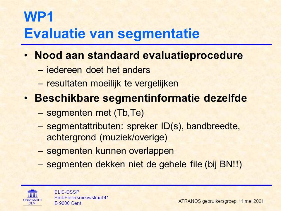 WP1 Evaluatie van segmentatie Nood aan standaard evaluatieprocedure –iedereen doet het anders –resultaten moeilijk te vergelijken Beschikbare segmenti