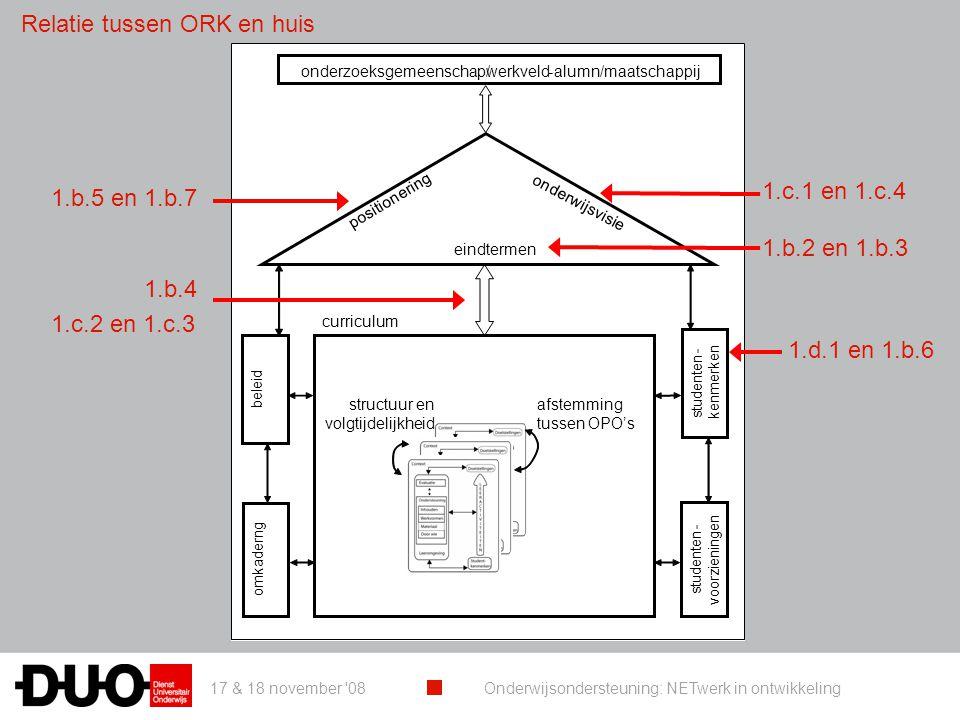 17 & 18 november '08 Onderwijsondersteuning: NETwerk in ontwikkeling studenten - kenmerken curriculum eindtermen onderwijsvisie positionering onderzoe