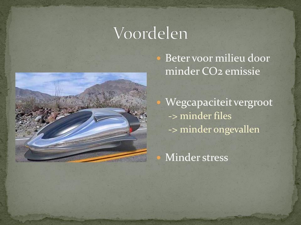 Beter voor milieu door minder CO2 emissie Wegcapaciteit vergroot -> minder files -> minder ongevallen Minder stress