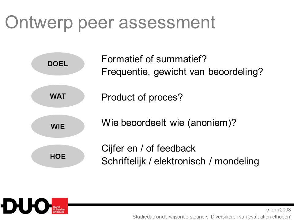 5 juni 2008 Studiedag onderwijsondersteuners 'Diversifiëren van evaluatiemethoden' Formatief of summatief.