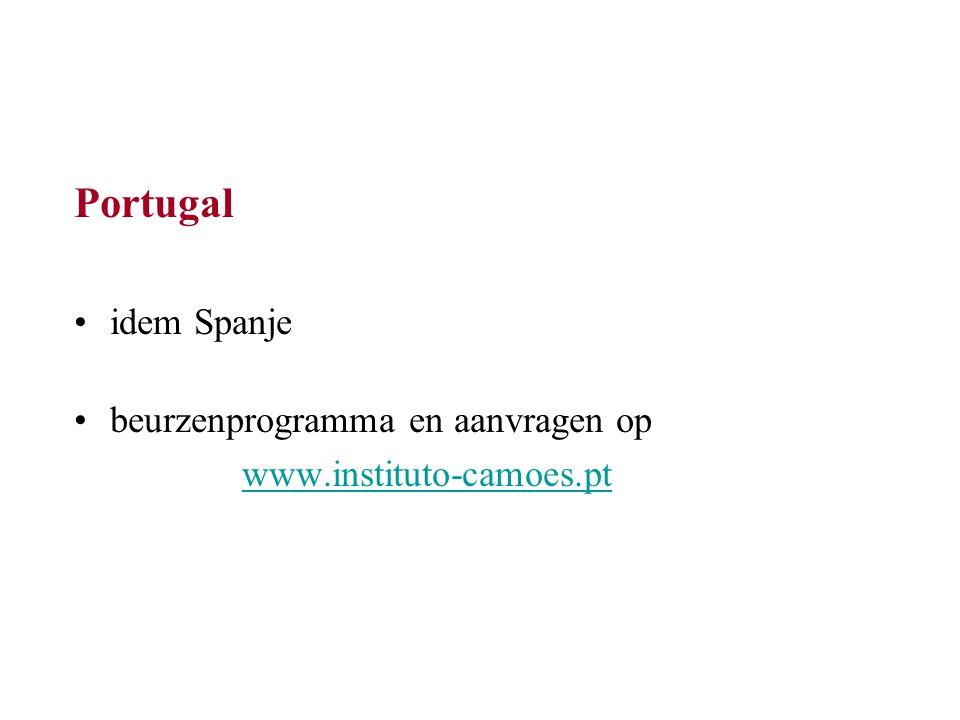 Portugal idem Spanje beurzenprogramma en aanvragen op www.instituto-camoes.pt