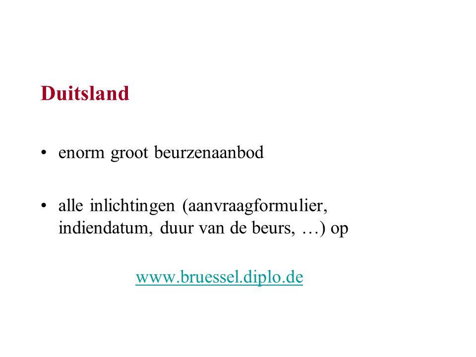 Duitsland enorm groot beurzenaanbod alle inlichtingen (aanvraagformulier, indiendatum, duur van de beurs, …) op www.bruessel.diplo.de