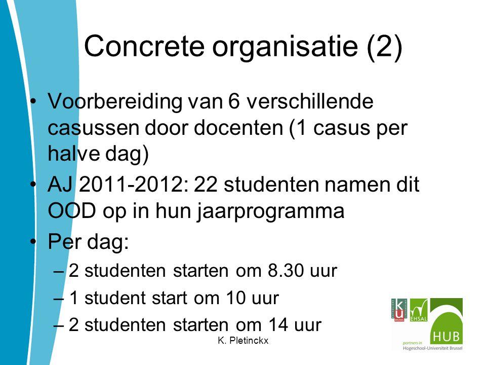 Concrete organisatie (3) 8.30u – 9u: voorbereiding door student –lezen van de casus –volledige probleemanalyse –opmaken van een volledig verpleegplan volgens het stappenplan van het methodisch verpleegkundig handelen K.