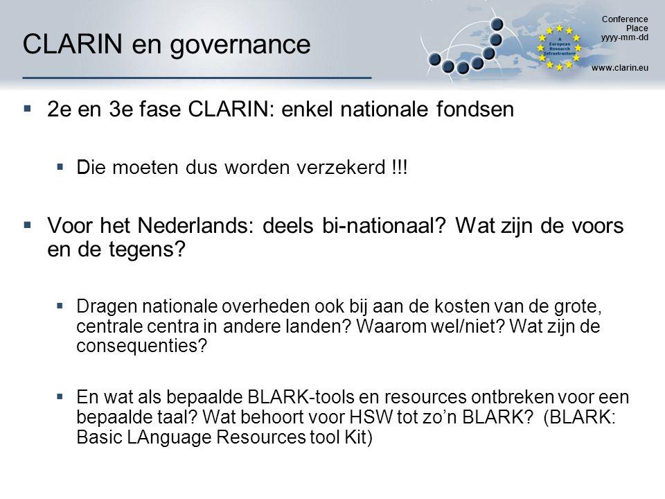 Conference Place yyyy-mm-dd www.clarin.eu CLARIN en governance  2e en 3e fase CLARIN: enkel nationale fondsen  Die moeten dus worden verzekerd !!.