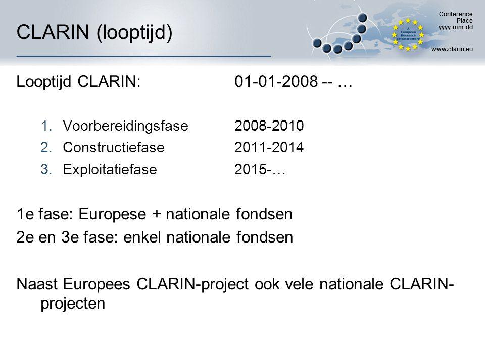 Conference Place yyyy-mm-dd www.clarin.eu CLARIN (opzet) Pan-Europees project  meeste lidstaten EU zijn betrokken  Partners en leden  Partners: 'Europese' luik (32 in 22 landen)  Leden: nationale luiken (119 (151) in 32 landen) Voor België:  partner en nationaal coördinator: K.U.Leuven (CCL)  leden: ESAT, itec, LIIR (Leuven), CNTS (Antwerpen), ELIS, LT3 (Gent), ETRO (Brussel) Nationale fondsen: EWI (dus Vlaanderen, niet België)