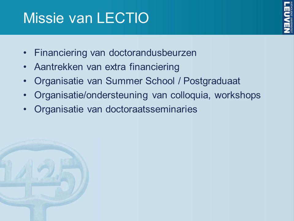 Missie van LECTIO Financiering van doctorandusbeurzen Aantrekken van extra financiering Organisatie van Summer School / Postgraduaat Organisatie/ondersteuning van colloquia, workshops Organisatie van doctoraatsseminaries
