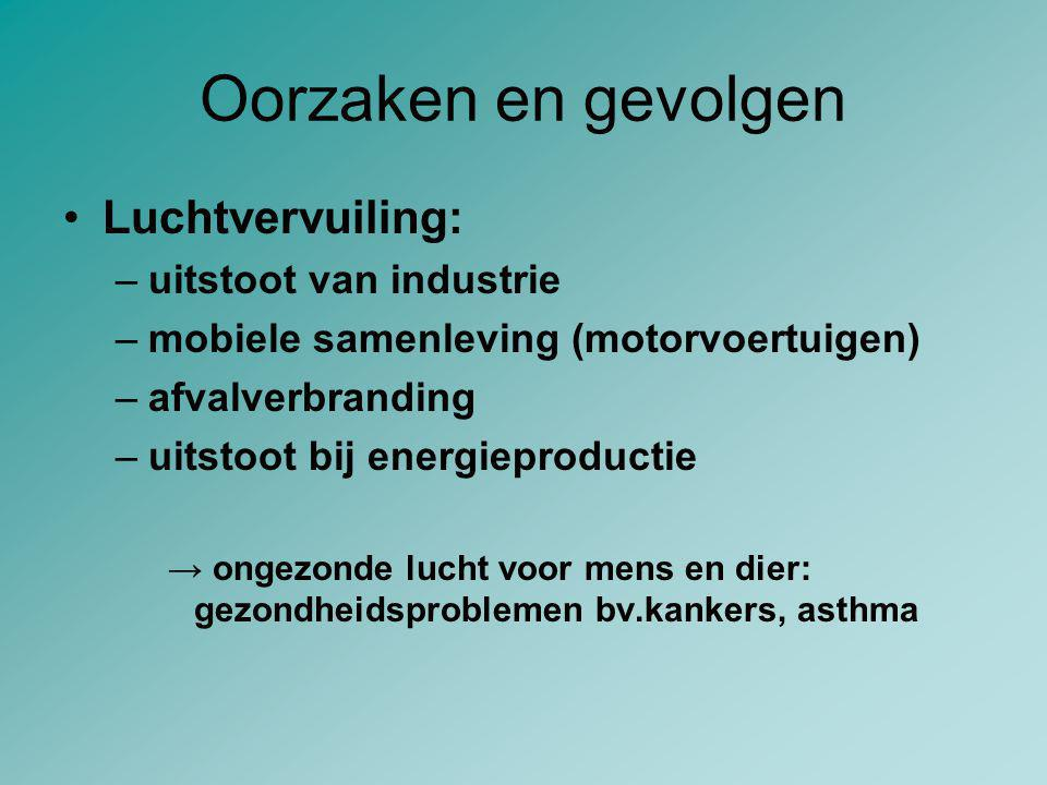 Oorzaken en gevolgen Luchtvervuiling: –uitstoot van industrie –mobiele samenleving (motorvoertuigen) –afvalverbranding –uitstoot bij energieproductie