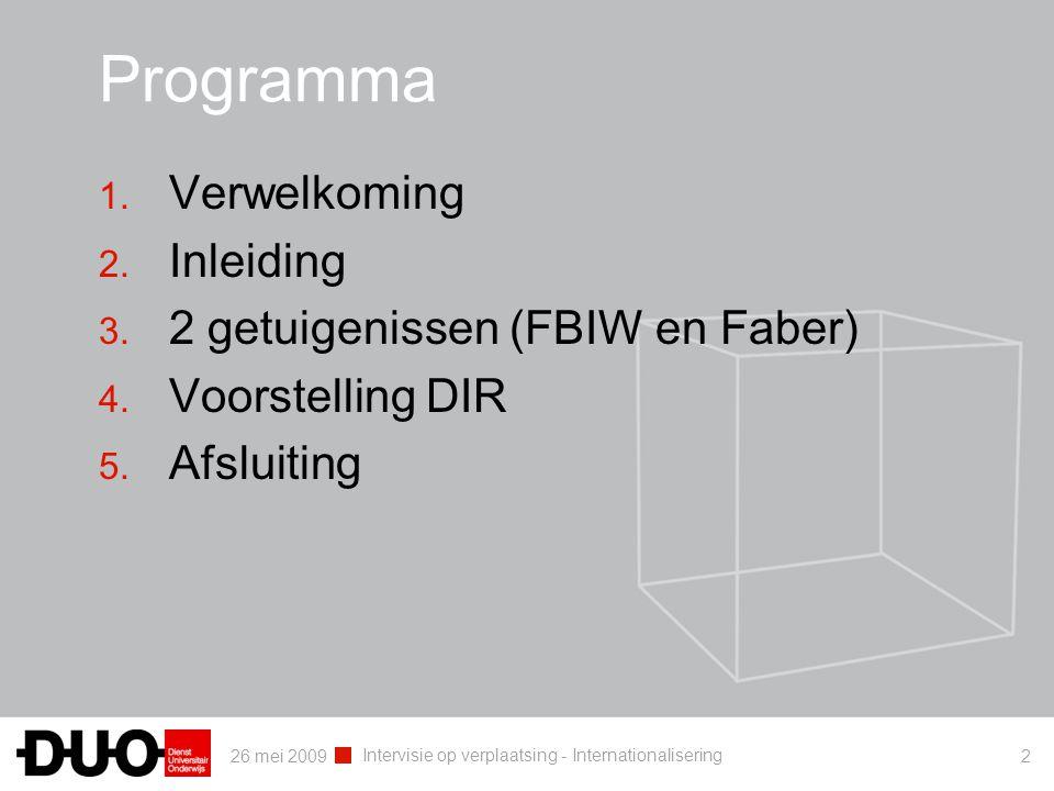 26 mei 2009 Intervisie op verplaatsing - Internationalisering 2 Programma 1. Verwelkoming 2. Inleiding 3. 2 getuigenissen (FBIW en Faber) 4. Voorstell