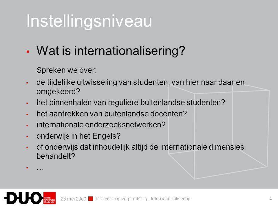 26 mei 2009 Intervisie op verplaatsing - Internationalisering 4 Instellingsniveau ▪ Wat is internationalisering? Spreken we over: ▪ de tijdelijke uitw