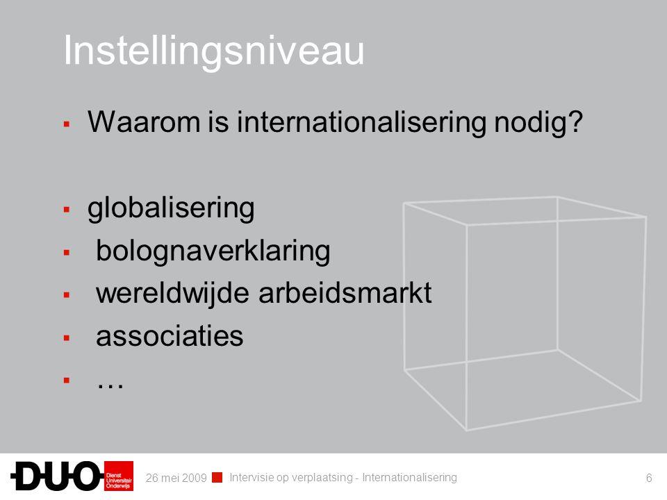 26 mei 2009 Intervisie op verplaatsing - Internationalisering 6 Instellingsniveau ▪ Waarom is internationalisering nodig? ▪ globalisering ▪ bolognaver
