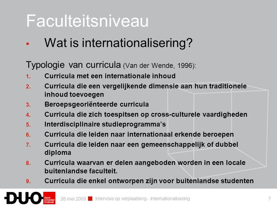 26 mei 2009 Intervisie op verplaatsing - Internationalisering 7 Faculteitsniveau ▪ Wat is internationalisering? Typologie van curricula (Van der Wende
