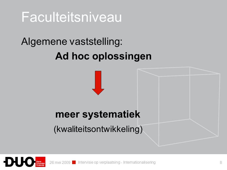 26 mei 2009 Intervisie op verplaatsing - Internationalisering 8 Faculteitsniveau Algemene vaststelling: Ad hoc oplossingen meer systematiek (kwaliteitsontwikkeling)