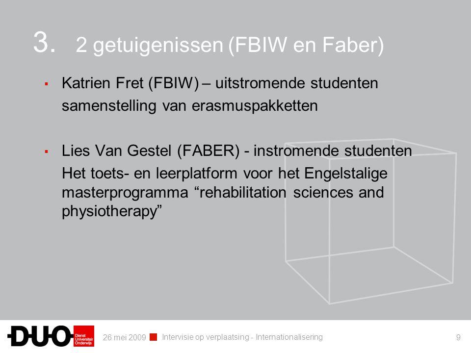 26 mei 2009 Intervisie op verplaatsing - Internationalisering 9 3. 2 getuigenissen (FBIW en Faber) ▪ Katrien Fret (FBIW) – uitstromende studenten same