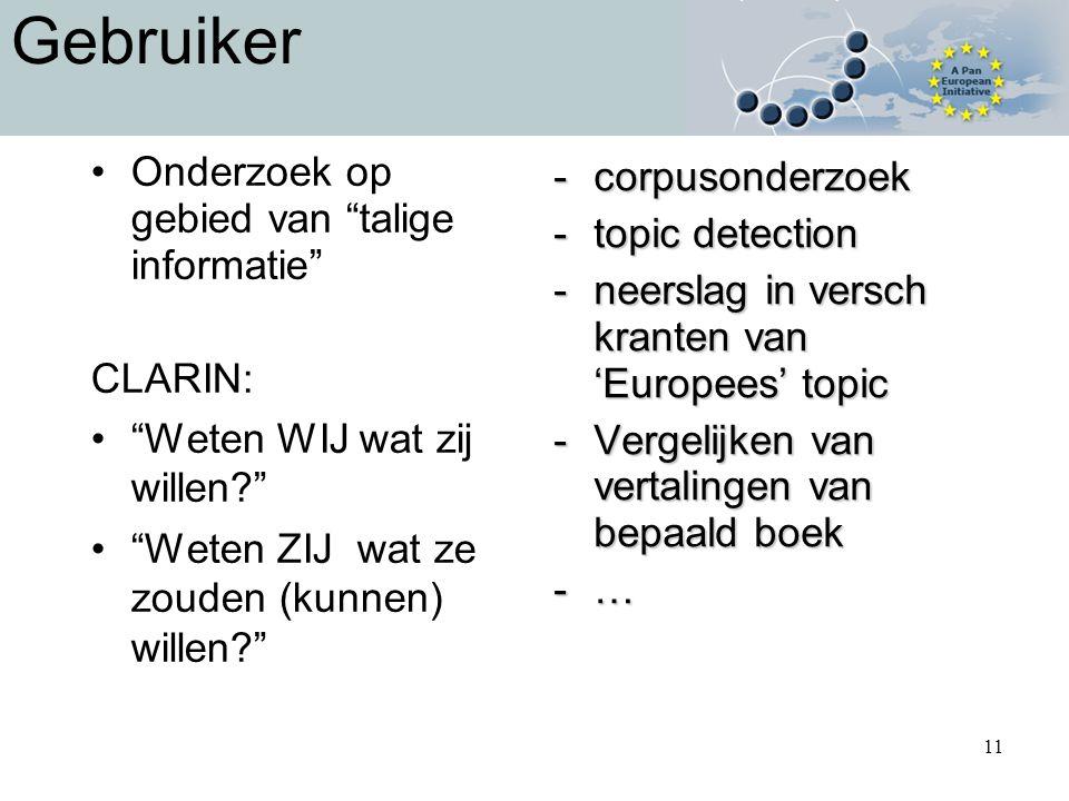 11 Gebruiker Onderzoek op gebied van talige informatie CLARIN: Weten WIJ wat zij willen Weten ZIJ wat ze zouden (kunnen) willen -corpusonderzoek -topic detection -neerslag in versch kranten van 'Europees' topic -Vergelijken van vertalingen van bepaald boek -…