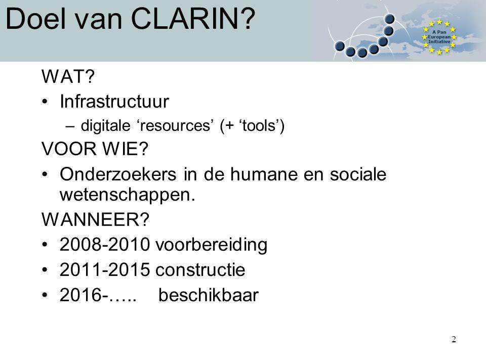 2 Doel van CLARIN. WAT. Infrastructuur –digitale 'resources' (+ 'tools') VOOR WIE.