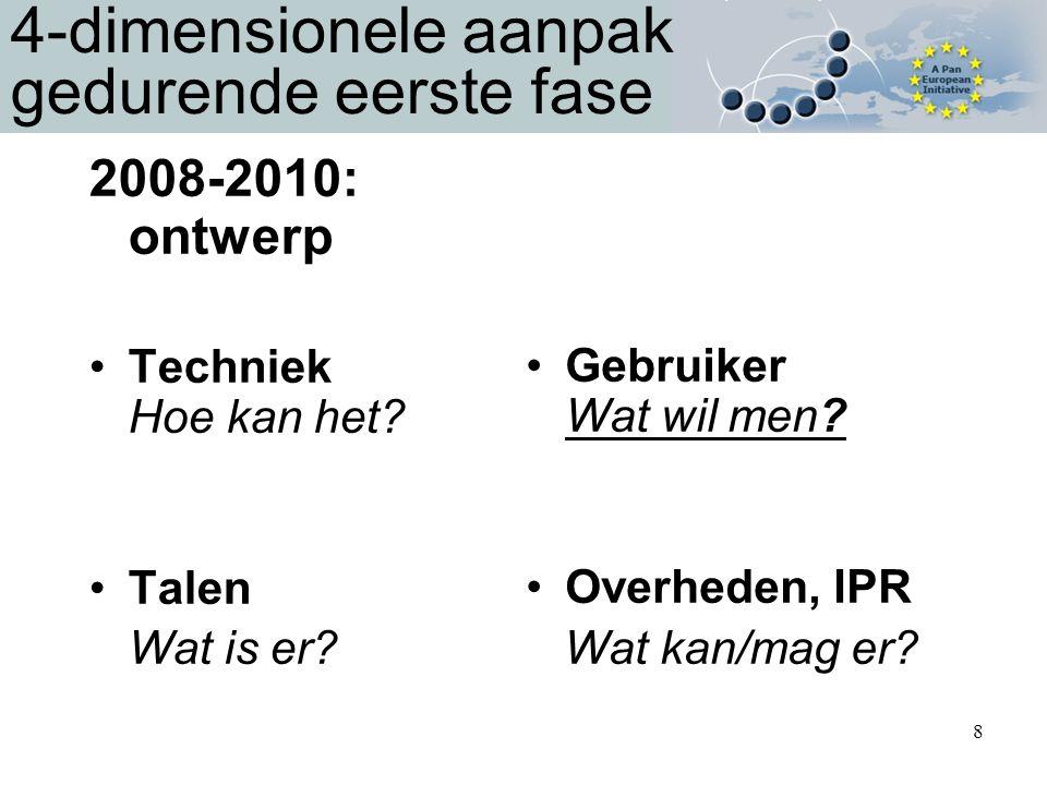 8 4-dimensionele aanpak gedurende eerste fase 2008-2010: ontwerp Techniek Hoe kan het.