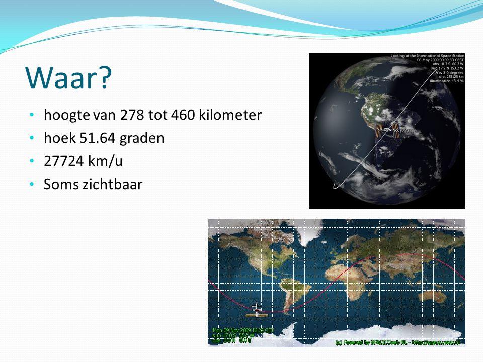Waar hoogte van 278 tot 460 kilometer hoek 51.64 graden 27724 km/u Soms zichtbaar